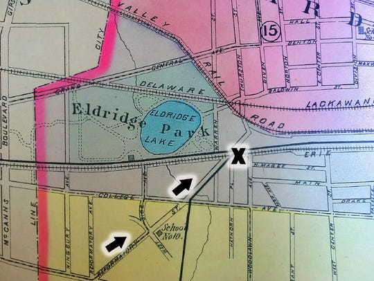 A map from the 1896 atlas of Elmira shows (then) Reformatory Road and the site of the accident. The roads have since been changed, and today the crossing is at Woodlawn Avenue, one block south.