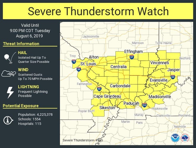Severe thunderstorm watch area for Aug. 6, 2019.