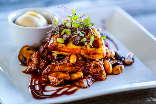 Beef-neck ragout from Rosy Tomorrows' grass-fed cows tops a tallow waffle finished with foie-gras butter and demi-glace.