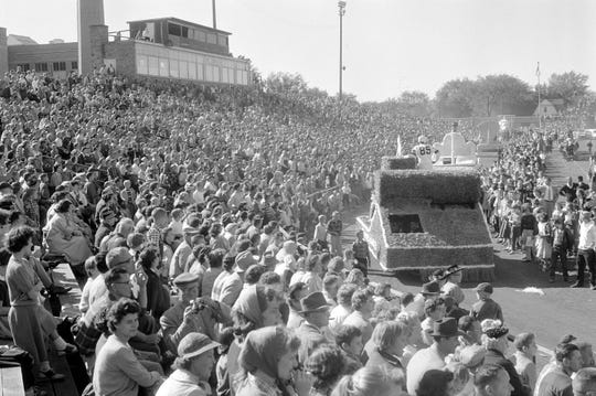 1957 SEASON: A parade is held on the field Sept. 30, 1957 to dedicate the Green Bay Packers' new City Stadium.