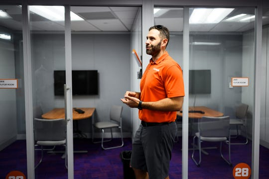 Matt Lombardi, director of football academic services at Clemson University, gives a tour of the Nieri Family Academic Enrichment Center Monday, Aug. 5, 2019.