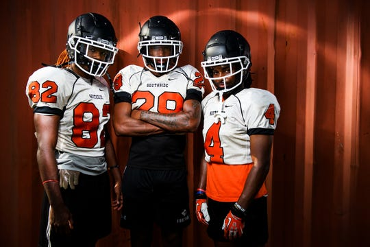 Southside wide receiver Tay Jefferies, left, running back Braydon Bennett, middle, and wide receiver Marc Smith pose for a portrait Tuesday, Aug. 6, 2019.