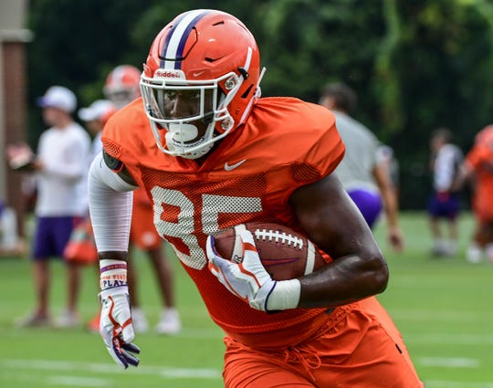 Clemson tight end Jaelyn Lay (85) runs after catching a pass during practice at the Allen N. Reeves Football Complex Monday, August 5, 2019.