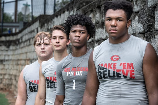 Greenville's Baron Franks, a tackle, Jalen Tate, a cornerback, Caleb Krall, a wide receiver, and Patrick Meyer, a center.