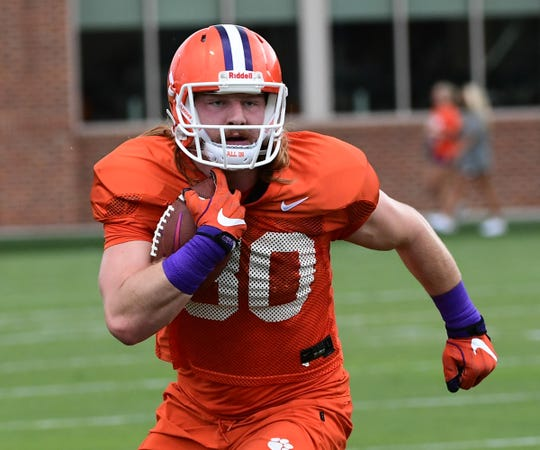 Clemson tight end Luke Price(80) runs after a catch during practice at the Allen N. Reeves Football Complex Monday, August 5, 2019.