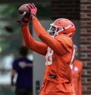 Clemson tight end Braden Galloway (88) catches a pass during practice at the Allen N. Reeves Football Complex Monday, August 5, 2019.