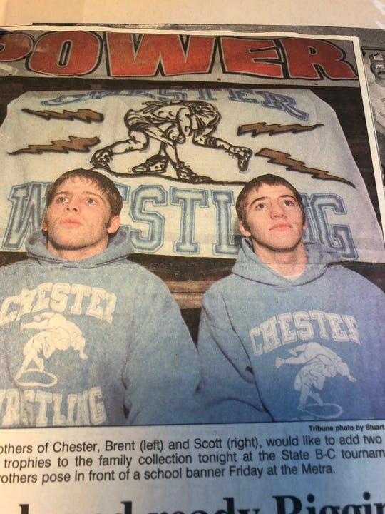 Brothers Brent (left) and Scott Riggin combined for five state championships during their fantastic Chester High wrestling careers.