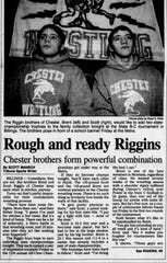 The Riggin brothers were featured in the Great Falls Tribune prior to the state meet in 1999.