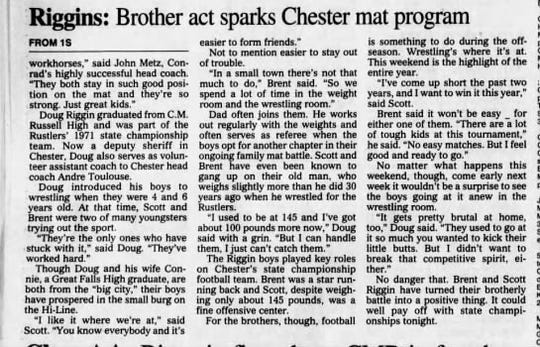 The Riggin brothers were quite a 1-2 punch for the Chester wrestling program.