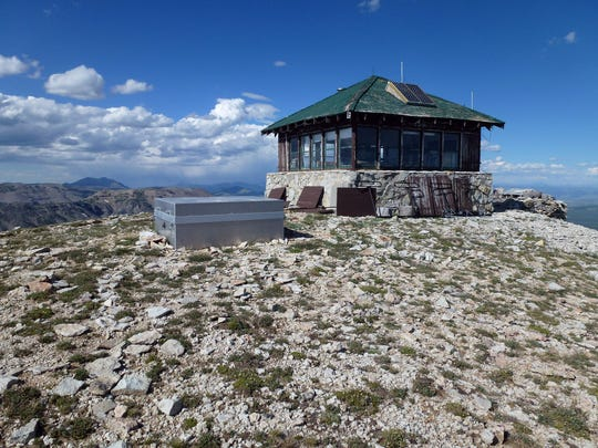 The Mount Holmes Fire Tower was built in 1931 at an elevation of about 10,000 feet.