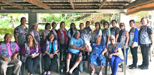 The Guam Sunshine Lions Club visited Jesus C. Babauta, 91, in Santa Rita on July 27. Members brought a fruit basket and entertained him with songs. Seated from left: Pete Babauta, LouJean Borja, Lorraine Rivera, Jesus C.  Babauta, Beatrice Babauta, and Jovie Mejorada. Standing from left: Lions Frank Aguon, Jr., Clarice Quichocho, Mary Taitano, Sid Weedin, Julie Cruz, Nina Baluran, Marie Salas, Tish Tano, Dot Leon Guerrero, Dee Cruz, Leiana Naholowa'a, Jill Pangelinan, Marietta Camacho, and Doris Cruz.
