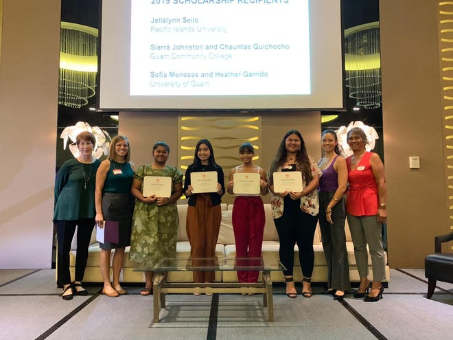 The Guam Women's Chamber of Commerce awarded scholarships to five students. From left: Jayne Flores, board member; Jackie Hanson, secretary, both with the Women's Chamber; Jellalynn Seilo, Pacific Islands University; Sofia Meneses; Heather Garrido, both from University of Guam; Chauntae Quichocho, Guam Community College; Jennifer McFerran, board member, and Lina Leon Guerrero, president, both with GWCC. (Not pictured: Siarra Johnston, Guam Community College.)
