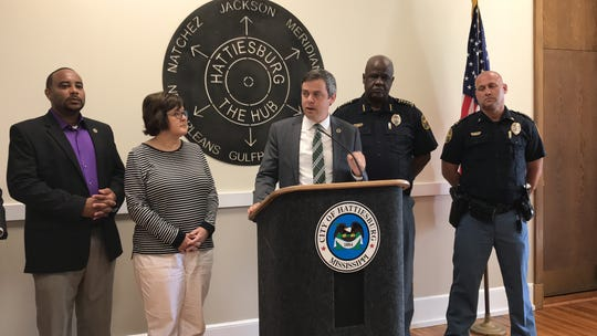 Hattiesburg Mayor Toby Barker announces new initiatives to curb panhandling and offer person-centered resources to homeless individuals during a news conference on Monday, Aug. 5, 2019, at City Hall. Pictured with the mayor, from left, are Ward 5 Councilman Nick Brown; Rita Porter with Pine Belt Mental Health; Police Chief Anthony Parker; and Lt. Dale Bounds, who will serve as homeless liaison coordinator.