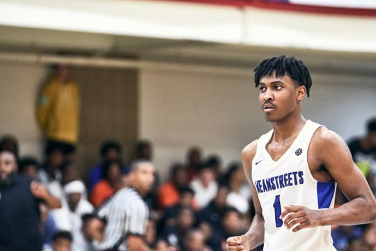 NORTH AUGUSTA, SC. July 11, 2019. Ahron Ulis 2020 #1 of MeanStreets 17U at Nike Peach Jam in North Augusta, SC.