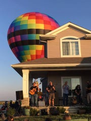 Hot air balloon rides were an attraction of the 2017 Porchfest celebration in North Liberty's Arlington Ridge neighborhood.