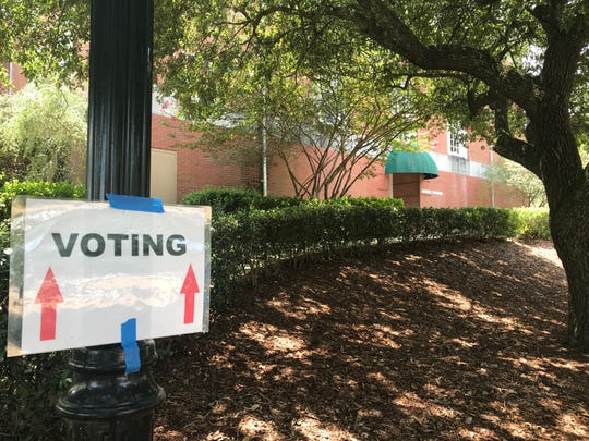 A sign directs voters to the polling station located on the Belhaven University campus. Tuesday, Aug. 6, 2019.