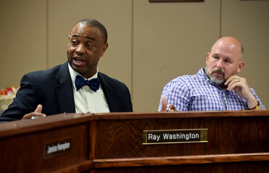 Jackson-Madison County School Board Chairman Kevin Alexander listens as superintendent Ray Washington addresses the board with his concerns during the work session, Monday, Aug. 5.