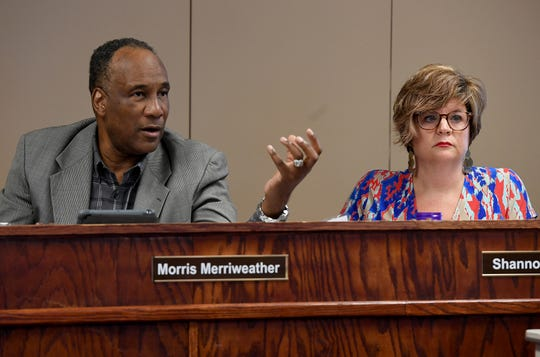 Morris Merriweather, left, at a Jackson-Madison County School Board work session on Aug. 5.