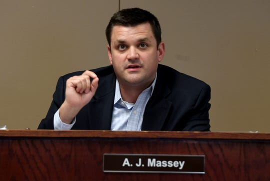 Jackson Madison County School Board member A.J. Massey gives comments during the work session of the Jackson-Madison County School Board meeting, Aug. 5.