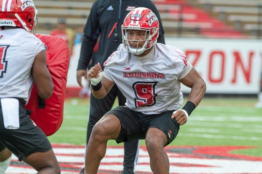 Trey Ragas practices with his team during the Ragin' Cajuns Training Camp at Cajun Field Aug. 2. Ragas contributed 1,181 yards to the more than 3,000 yards total the Cajuns covered on the ground last season.
