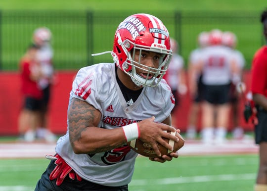 UL running back Elijah Mitchell runs the ball during the Ragin' Cajuns Training Camp at Cajun Field Aug. 2. Mitchell contributed 13 touchdowns for the Cajuns in the 2018 season.