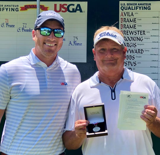 Lafayette's Bill Land (right) took medalist honors and earned a spot in the U.S. Senior Amateur Championships by shooting a two-under-par 70 in last week's sectional qualifying at Oakbourne Country Club. LGA executive director Logan Ray (left) presented Land with the championship medal and his official invitation to the national tournament Aug. 24-30 in Durham, N.C.