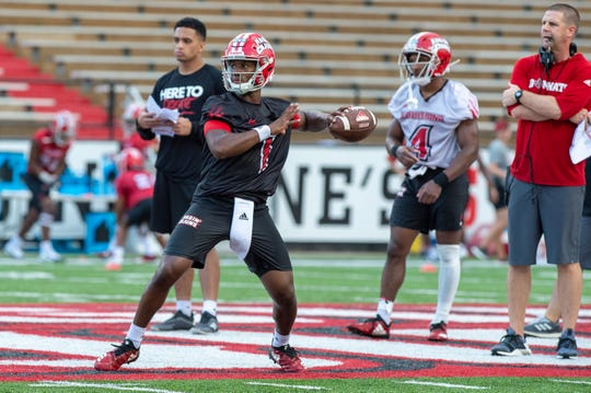 UL quarterback Levi Lewis practices during the Ragin' Cajuns training camp earlier this month at Cajun Field. Cajuns head football coach Billy Napier said Lewis has made significant mental and physical improvements since last year.