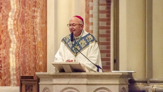 Bishop J. Douglas Deshotel  leads a Mass of Remembrance for victims of this weekends mass shootings in El Paso, Texas and Dayton, Ohio, Tuesday.