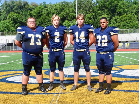 The Lancaster football team selected four captains and they are from left to right: Dalton Golden, Owen Snyder, Curtis Young and Devon Pearson.