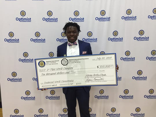 Michael Morgan, a senior at duPont Manual High School, won a total of $17,500 in scholarships after placing second at the fourth annual Optimist International Oratorical World Championship in St. Louis July 19-20.