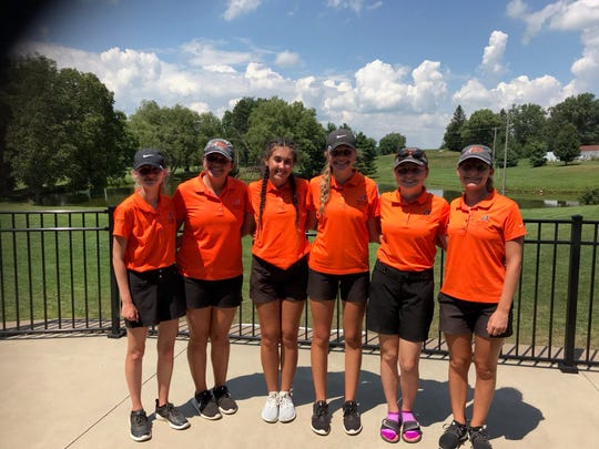 The Ashland Lady Arrows (left to right) Livia Sponsler, Sarah Anderson, Kira Moore, Klaira Paramore, Abby Fossaceca, Anna Watson won the 10-team Shelby Invite to kick off the 2019 high school sports season.