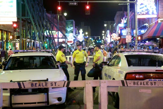 Memphis Police officers on duty at Beale Street Friday evening in this file photo from June 3, 2016.