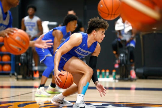 Memphis guard Lester Quinones at practice Tuesday at the Laurie-Walton Family Basketball Center.