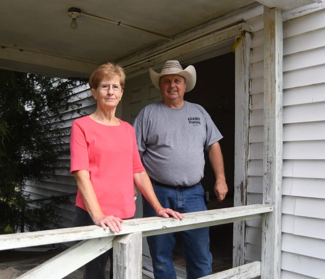 Linda Bradbury (left) and Bill Adams (right) are two of the volunteers that are hoping to rehabilitate the Old Galatia Church into a community center. The volunteer group recently received a $10,000 historical preservation grant to help with their efforts.