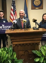 Eddie Rispone, R-Baton Rouge, speaks to reporters Tuesday after qualifying for governor.