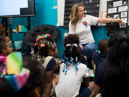 First grade teacher Katlyn Williams does a group activity with students during the first day of school at Brewbaker Primary School in Montgomery, Ala., on Tuesday, Aug. 6, 2019.
