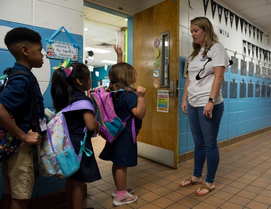 First grade teacher Katlyn Williams practices greetings with her students during the first day of school at Brewbaker Primary School in Montgomery, Ala., on Tuesday, Aug. 6, 2019.