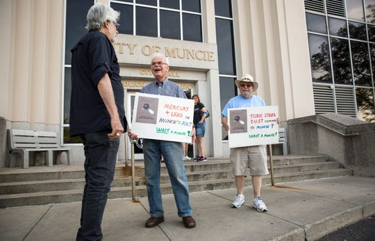 Protestors with signs line up in front of city hall nearly an hour before the Muncie City Council meeting on Aug. 5. Several agenda items including public comment on the Waelz Sustainable plant at the former Borg Warner site brought out hundreds of people.