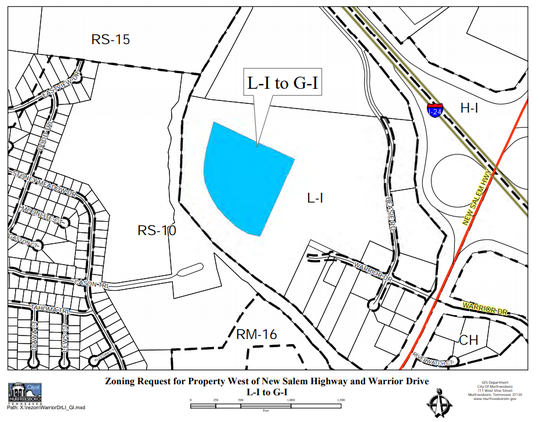 This map shows in blue where 15.6 acres could be zoned for a factory for yet-named company in Murfreesboro. The land is between Interstate 24 and the Stones River Greenway and the Cason Trailhead. The property is off New Salem Highway and Warrior Drive.