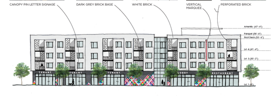 Plans for a 4-story complex of shops, restaurants, bars and housing units at 829 Dickerson