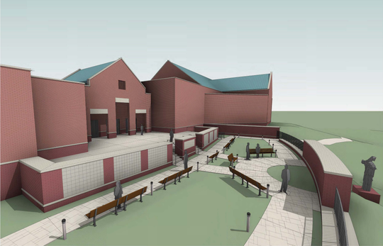 A rendering of the prayer garden and columbarium planned for Holy Family Catholic Church in Brentwood.