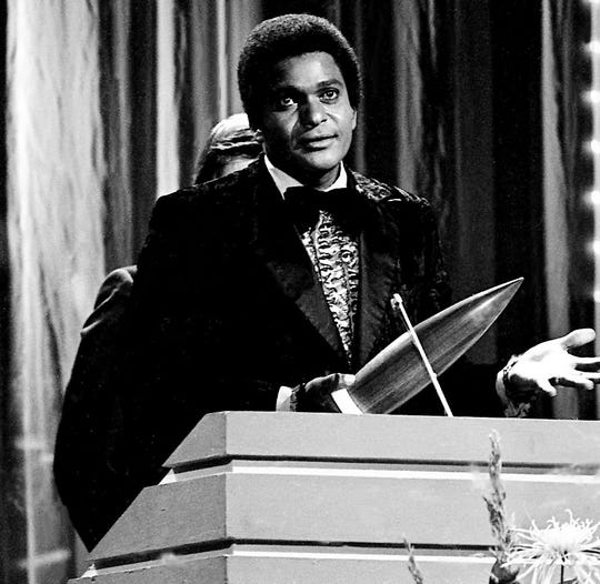 """Just Between You and Me,"" the first major country hit for Charley Pride, was released in December 1966. Here, Pride is named Male Vocalist of the Year during the CMA Awards show Oct. 16, 1972."