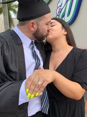 Kevin Jones and Renatta Mora got engaged on Aug. 3, 2019 at Alico Arena in Lee County.
