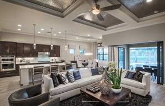 The Pinnacle features an open kitchen design overlooking the gathering and dining space, along with more than 2,400 square feet of interior living space.
