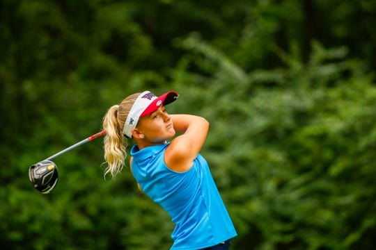 Gianna Clemente, 11, plays her tee shot at the second hole during the first round of stroke play at the 2019 U.S. Women's Amateur at Old Waverly Golf Club in West Point, Miss., on Monday. Clemente spends half of the year living in Southwest Florida and trains at Quail Creek Country Club in Naples and Old Corkscrew Golf Club in Estero.