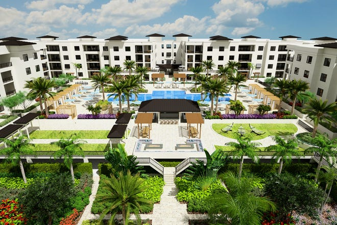 Rendering of Eleven Eleven Central courtyard amenity deck and sunken Courtyard Park.