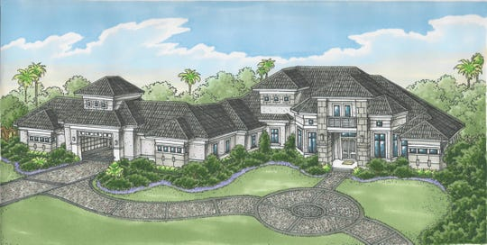 The new Cortona II, by Stock Signature Homes, overlooks the 13th fairway of Quail West's Preserve Course.