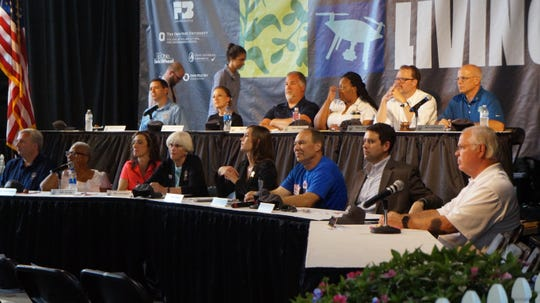 The final judging panel for the Ohio Signature Food Contest at the Ohio State Fair on July 30.