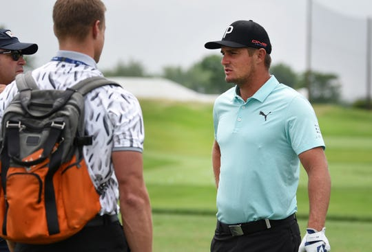 Bryson DeChambeau is interviewed during the practice round of the Northern Trust at Liberty National Golf Course in Jersey City on 08/06/19.