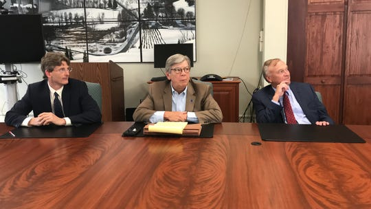 Jon Connolly, president of Sussex County Community College; William Curcio, chairman of the college board and trustees; and attorney Glenn Kienz discuss the investigation into a board member's sexist and anti-Muslim messages on Twitter. Aug. 5, 2019